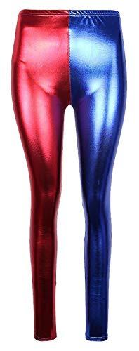 Unbranded Damen Metall Wet-Look Hot Pants Folie Shorts Jacke Glänzend Halloween Party Rot und Blau Disco Shorts (2XL (EU 44-46), Leggings) (Rote Halloween-kostüm Jacke)