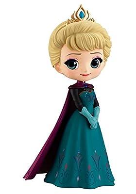 Figura de Colección Princesa Elsa de Frozen 14cm QPOSKET Banpresto Disney Characters - Elsa Coronation Style Versión A Vestido Oscuro por DISNEY Banpresto