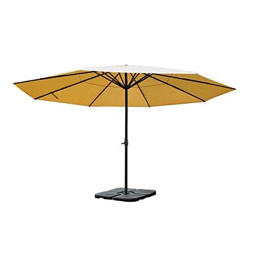 Alu-Sonnenschirm Meran Pro, Gastronomie Marktschirm ohne Volant Ø 5m ~ creme mit Ständer