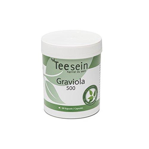 Graviola Kapseln von TEESEIN® | 90 Kapseln - 500mg pro Kapsel | konzentriertes reines und natürliches Graviola Blattpulver mit vollem Wirkstoffgehalt | Superfood in Premium Qualität ohne Zusatzstoffe