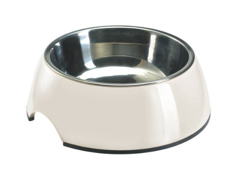 HUNTER Melamin-Napf, Futternapf, Trinknapf für Hunde und Katzen, herausnehmbarer Edelstahlnapf, 160 ml, weiss