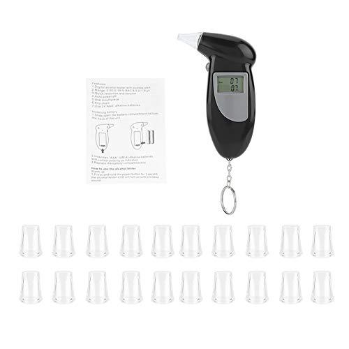 02 Alkohol (Professioneller Alkoholtester, tragbarer Atemalkohol-Tester, digitaler LCD-Bildschirm Alkohol-Atemtest, tragbarer Schlüsselbund-Atemanalysator (20 mouthpieces))
