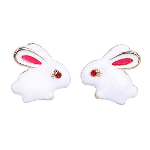Cute Kaninchen Ohrstecker Ohrring Hochzeit Schmuck Geburtstag Geschenk für Frauen Mädchen 3D massiv Keramik