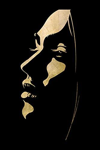 Queence   Acrylglasbild mit Blattgold   Wandbild Glasbild Acrylbild Rahmenlos   Gesichts-Silhouette   Druck auf Acrylglas   Goldveredelung   Größe: 40x60 cm