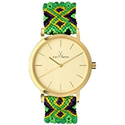 Toywatch Maya Women's Quartz Watch with Gold Dial Analogue Display and Green Strap MY03GD - 0.94.0057