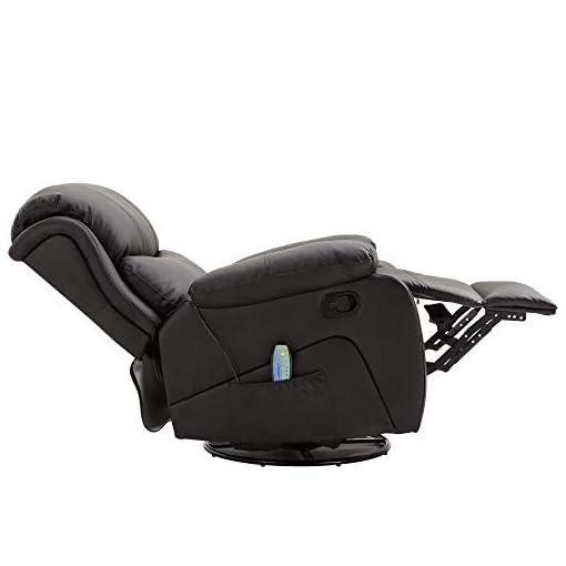 HOMCOM Poltrona Relax Massaggiante Riscaldante Reclinabile Ecopelle 94 × 103 × 100cm Nero