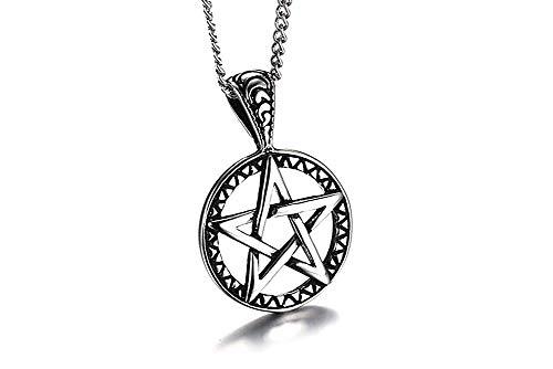 XBMEN Edelstahl Gothic Punk Style aushöhlen Penta von Brisingamen Anhänger Halskette Witchy Wiccan Pagan Schmuck