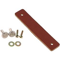 B Blesiya Tiradores de Cajón Cuero Manija de Gabinete Perilla de Puerta Maleta Equipaje Cierre Tracción DIY - marrón