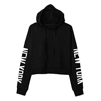Xmiral Women Sweatshirt Letters Long Sleeve Hoodie Women Fashion Polyester Pullover Tops Blouse (S,black) 1