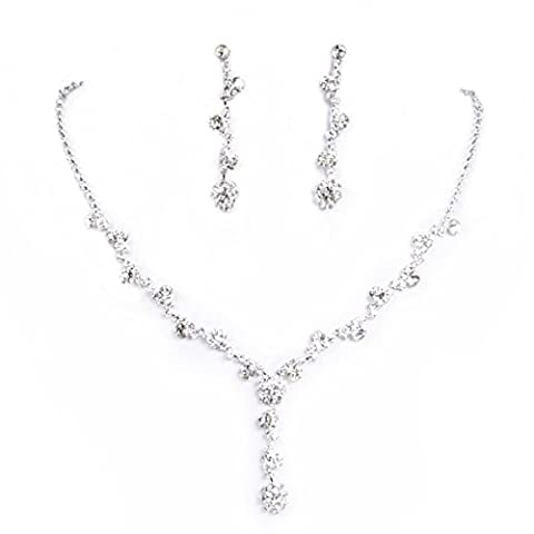 Clearbridal Women's Sliver Rhinestones Necklace Earrings Jewelry Sets for Wedding Bridal Party