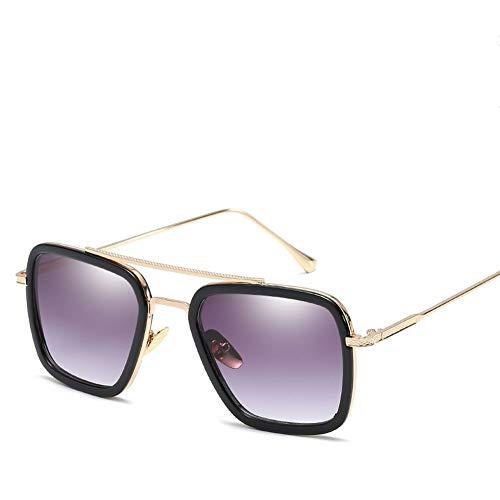PL-IMK Sport Sonnenbrillen, Vintage Avengers UV400 Tony Stark Brillen Flight Metallrahmen für Herren Derselbe Absatz Transparente Linse Farbverlauf (4)