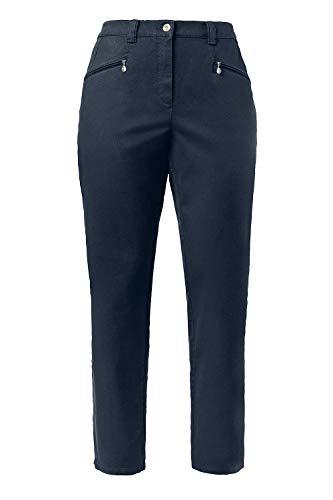 Ulla Popken Damen große Größen bis 64 | Hose Mony | Gerades Bein & Stretch-Komfort | Reißverschluss-Taschen, elastischer Bund & Baumwolle | dunkel-tannengrün 54 624655 40-54