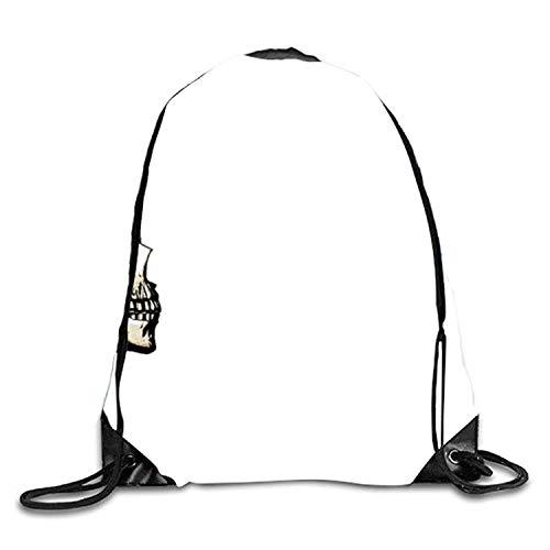 (ERCGY Skeleton Listening to Some Music Digital Art Original Shoulder Bag Pumping Rope Backpack)