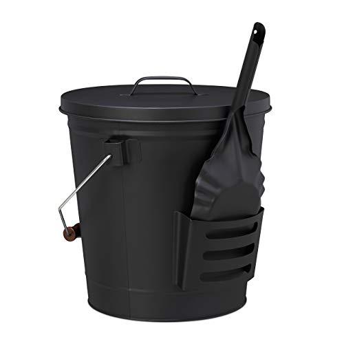 Relaxdays, schwarz Ascheeimer mit Deckel und Schaufel, Stahl, Kohleeimer mit Henkel, 19 L, Ascheschaufel Kamin & Grill, 47,5 x 38 x 33 cm