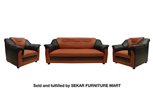 Sekar Lifestyle 3+1+1 Dual Tone Polyurethane Sofa Set for Living Room [Colour - Black & Orange]