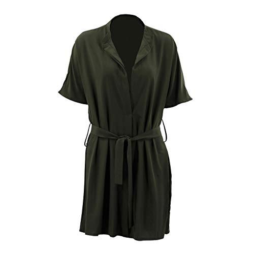 VECOLE Damenoberteile Summer Bohemian Solid Color V-Ausschnitt Kurzarm lose beiläufiges Rüschenkleid Rock Kleiden(Armeegrün,L) - Velvet Tulip Rock
