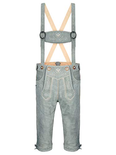 ALMBOCK Trachtenhose Herren knielang - Trachten Hose Herren grau mit Knöpfen in Hirschhornoptik - Lederhosen Tracht Herren - Trachtenlederhose XXL