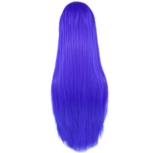 80cm lange synthetische Perücke für Frauen Hitzebeständige Faser Toupet-blaue gerade Cosplay Perücken