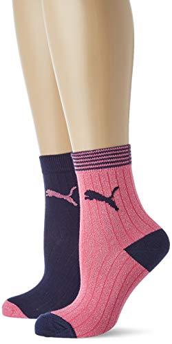 Puma Mädchen Sportsocken Sock 2P Lurex, 2er Pack, Rose (Navy/Pink 478), Hersteller Größe: 31/34Taille Hersteller: 31/34