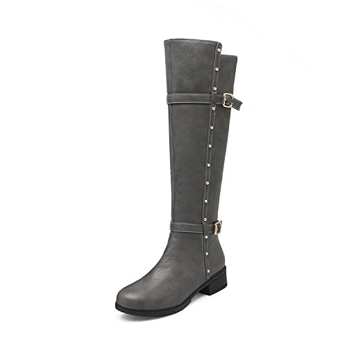 Cozy donne alto stivali stivali cavaliere con scarpe autunnale e linvernale gray