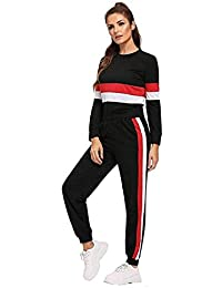 Lava Creation Women's Cotton Tracksuit Tee & Leggings Set(Bust Size : 30 to 36, Waist Size : 28 to 34, Black)