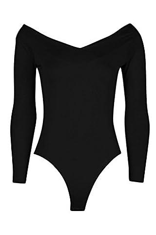 Noir sofia body long/court à épaules dénudées et col en v - 14