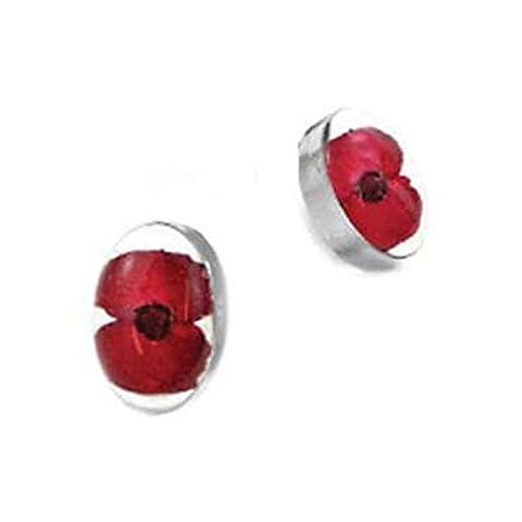Silver Poppy Oval Stud Earrings