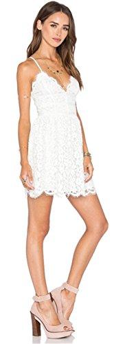 Moda con spalline con scollo profondo a fiori floreale Pizzo Scallop Fondo Mini Corte Corta Skater A-Line Linea Ad A Svasato Dress Vestito Abito Bianco
