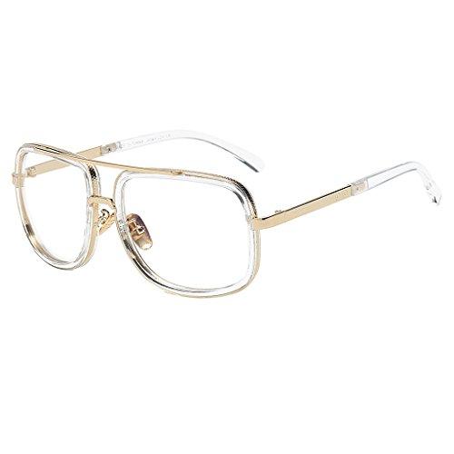 MagiDeal Sonnenbrille Retro Damen Herren Sport Strand Urlaub Fliegerbrille mit Metallrahmen - Transparent