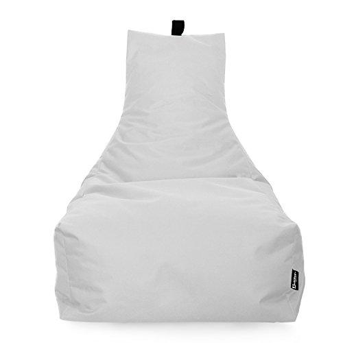BuBiBag Lounge Sitzsack Sitzkissen XXL Tobekissen Bodenkissen Beanbag Kissen, für Kinder und Erwachsene (Weiß)