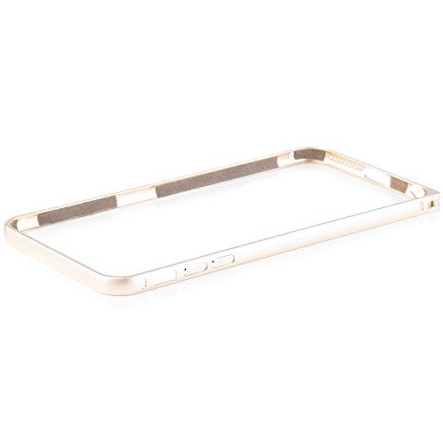 iCues Apple iPhone 6/6S + PLUS (5.5 Zoll) |  Alu Bumper Clip Gold | [Display Schutzfolie Inklusive] CNC Aluminium Metall Metallic Rahmen Case Hülle Schutzhülle Alubumper Plain Gold