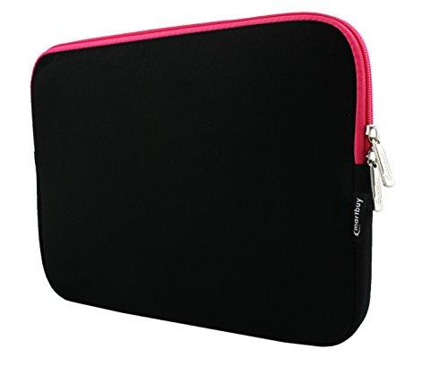 Emartbuy® Schwarz/Rosa Wasserdicht Neopren weicher Reißverschluss Kasten Abdeckung Sleeve mit Rosa Interieur Geeignet Für Odys Unity Win 12 Pro 2 in 1 Tablet PC 11.6 Zoll (11.6-12.5 Zoll Laptop)