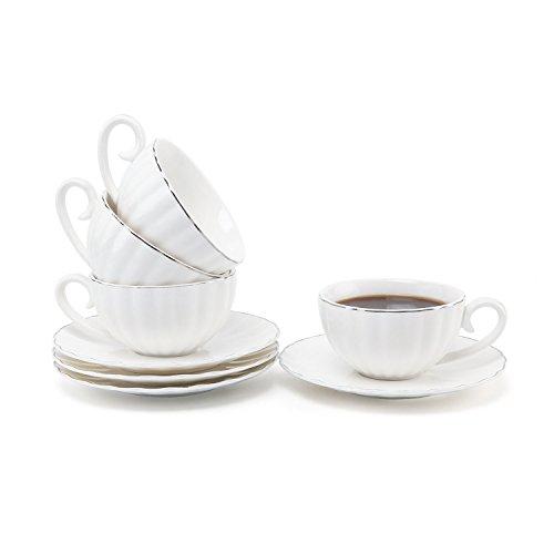 Rachel's Choice 4 Stücke Set 220ml Porzellan Tee Tassen mit Untertasse Kaffeetassen Set - Silver Rand Design
