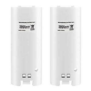 Wetoph Wii Akkus Wii Batterie 2X 2800mAh Akku für Wii Remote Compatible für Nintendo – Weiß TP08 Dritteranbieter Produkt