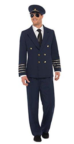 Smiffys, Herren Piloten Kostüm, Jacke, Hose und Mütze, Größe: M, 28621