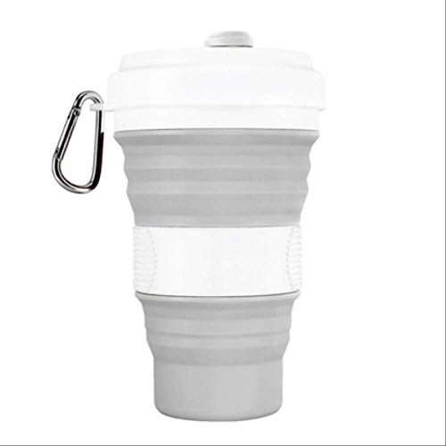 KOUAJ Wasserbecher 550 ml Folding Silikon Tragbare Silikon Teleskop Trinken Faltbare Kaffee Tasse klapp Silica Tasse mit Deckel Reise Gray 550ml 19oz -