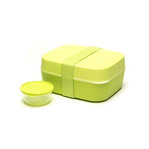 nto Box 3 in 1, grün, für Kinder und Erwachsene, Brotdose und Salatbox mit zwei Etagen und Extra-Behälter für Dressing, Früchte oder Joghurt ()