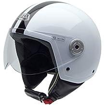 NZI Vintage II Casco de Moto, Blanco con Rayas Negras, 54 (XS)