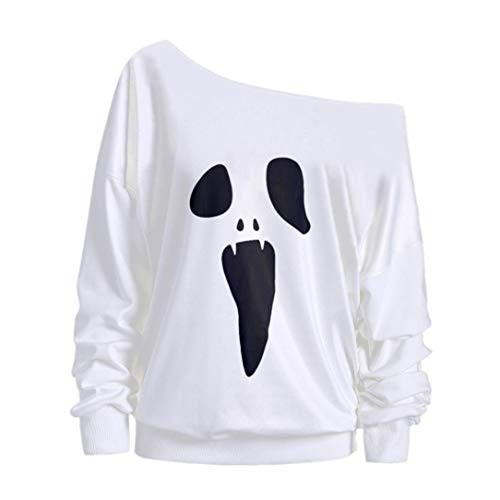 iYmitz DamenHalloween Sweatshirt Pullover Langarm Geist Print Tops Bluse(Weiß,L)
