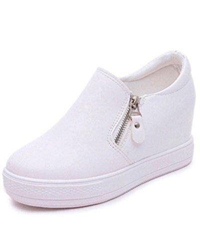 Minetom Mujer Otoño Invierno PU Cuero Botas Botines Plataforma Confortables Suela Gruesa Zapatos Blanco EU