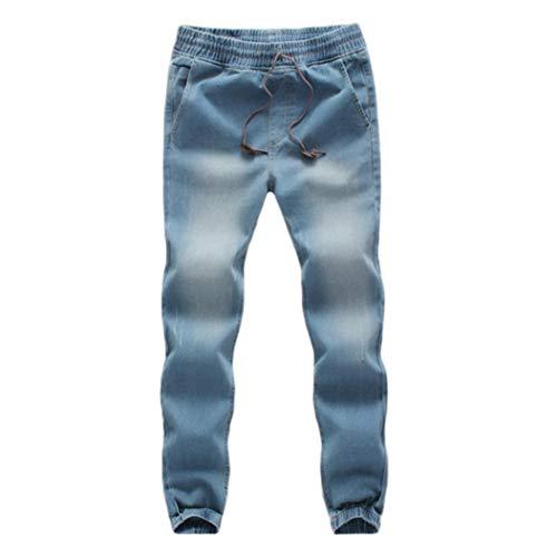 TEBAISE Herren Jogg Stoffhose Jogger Chino Hose Jeans Haremshose Denim Baggy Pants-Bund und Saum mit Gummizug(Hell blau,XL) -