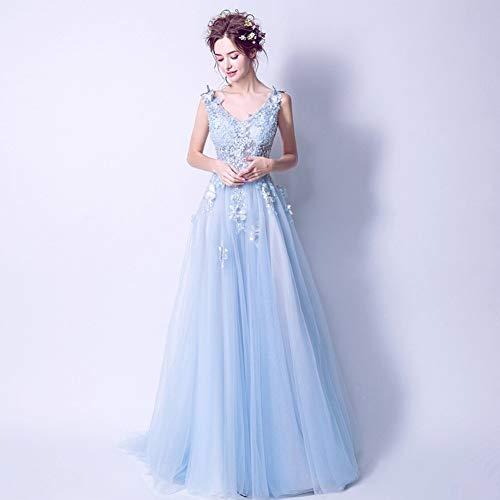 Yt-re abito da damigella d'onore elegante in pizzo blu con scollo a v e scollo a cuore, azzurro, s
