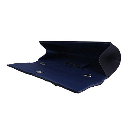 Adoptfade Damen Falten Lang Abendtasche Aus Satin, Grau Navyblau
