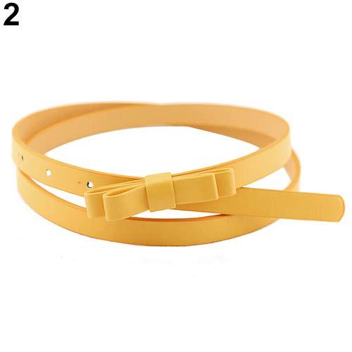 Mflbefulmel - Cinturón de Piel sintética para Mujer, 2 Capas, con Lazo Fino, cinturón Delgado de Piel sintética, Amarillo