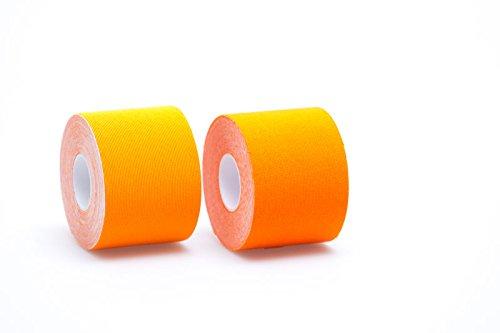 Theramaid Sportstapes - Premium Sporttape mit 160% Dehnfähigkeit / 5cm x 5m, 96% Baumwolle, Kineseologie - Physiotherapie-Tape, verschiedene Farben, wasserfest (orange)