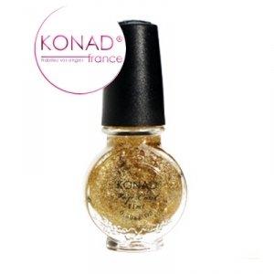 Konad Stamping Nail Art Gold Glitter Nail Polish Top Coat 11ml