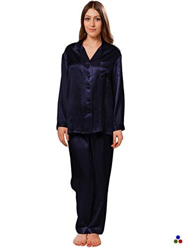 Ellesilk set di pigiama di seta per donna, pigiama di seta da donna, 22 seta di gelso momme, incredibilmente morbido, marina militare, xl