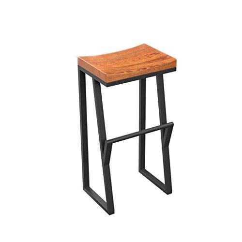 QFF Rétro Tabouret de bar, Créatif Vent industriel chaise de bar, Bois massif Tabouret haut, Réception Tabouret de caissier Chaise de café 63-85 CM (Couleur : C)