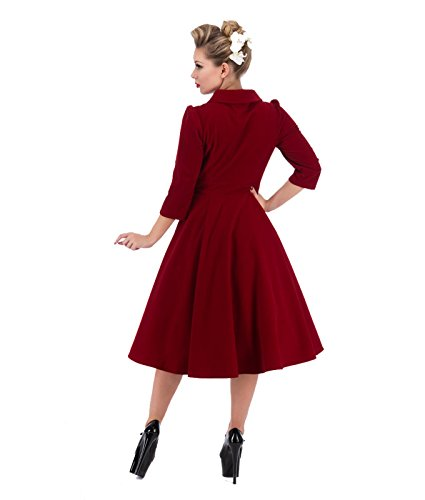 3067 H&R cuori e rose London 50's Glamorous velluto abito da tè Rosso