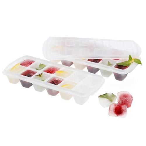 Xavax Eiswürfel-Behälter, mit Deckel für 24 Eiswürfel, 2er Set für je 12 Eiswürfel, zum Einfrieren von Babybrei, Sauce, Pesto, Eiswürfelbereiter